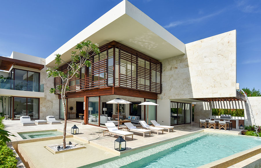 contemporary villa with sundeck and riverside dock